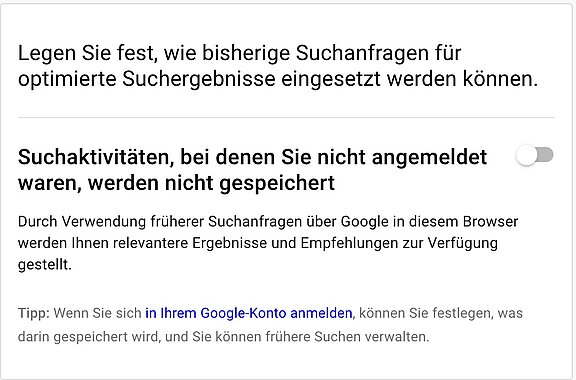 Google Suchanpassung festlegen